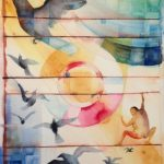 Föda fåglar, akvarell