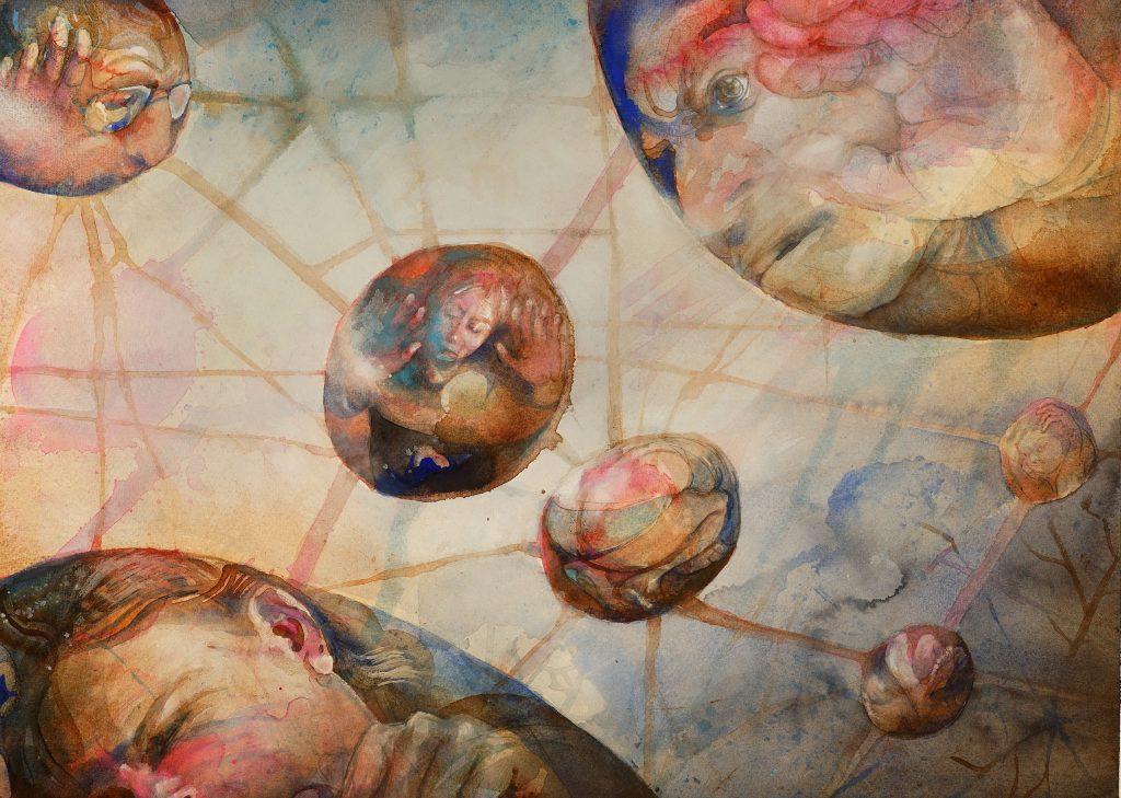 Kommunikation, akvarell, 76*56 cm
