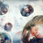 Selfies 2, akvarell, 76*56 cm