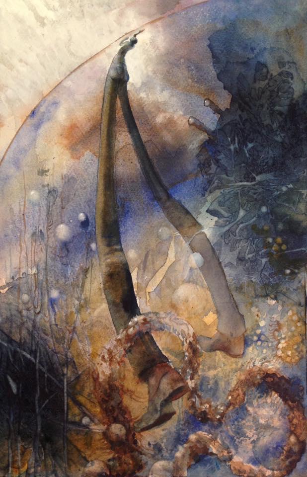 Ytspänning, akvarell