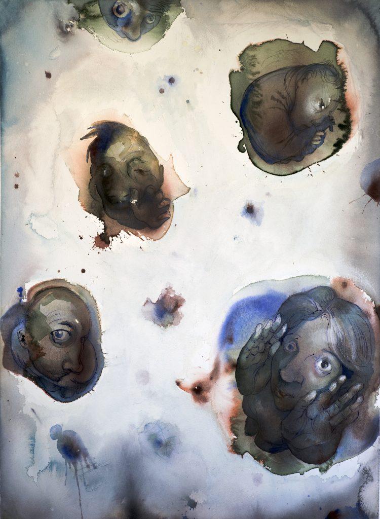 Selfies, akvarell, 56*76 cm