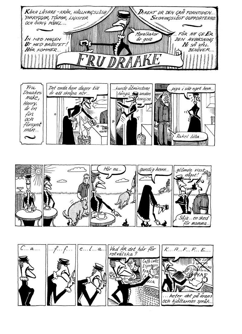 Rakel Draake, gästserie DN, strippar, sida 1